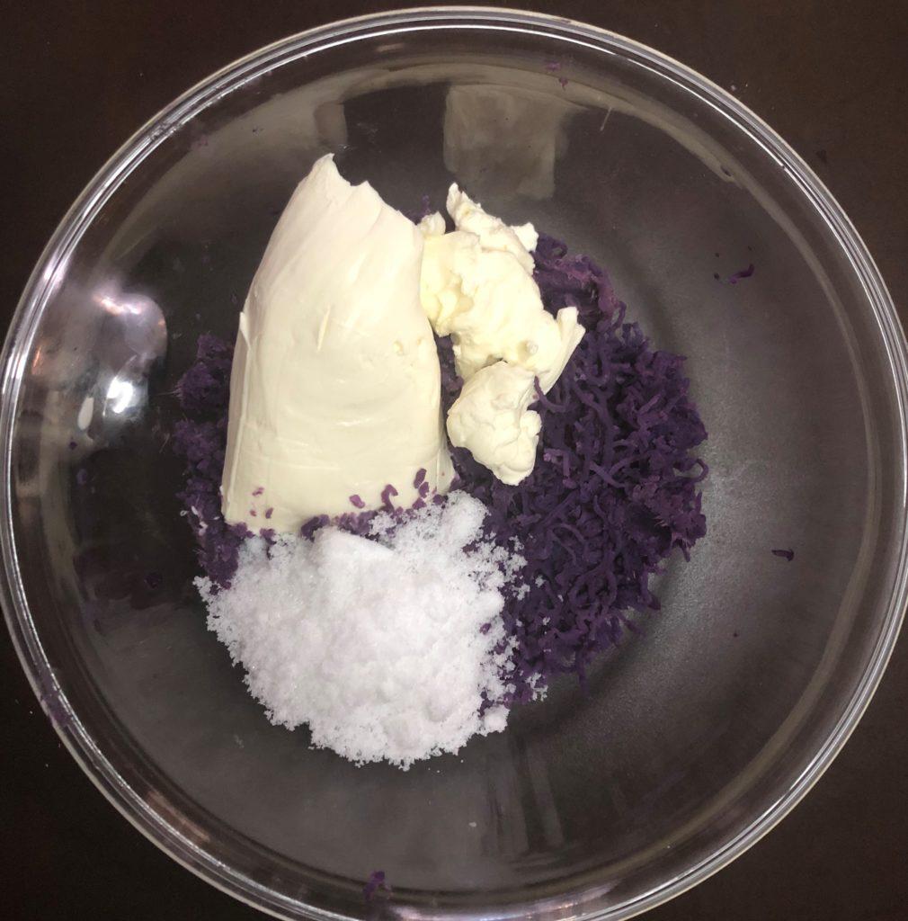 紫芋のミニチーズケーキ