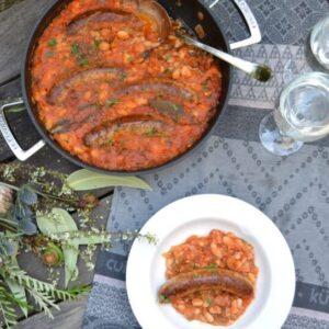 ソーセージと豆のキャセロール