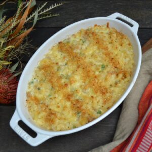 ソーセージとグリーンピースのマカロニアンドチーズ